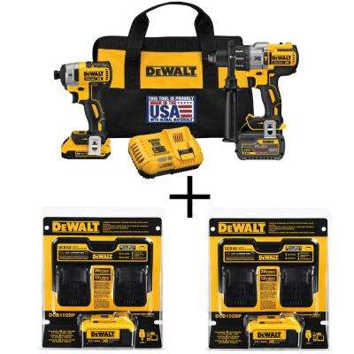 FLEXVOLT 60-Volt and 20-Volt MAX Lithium-Ion Cordless Brushless Combo Kit (2-Tool) with (2) Bonus Batteries and Chargers