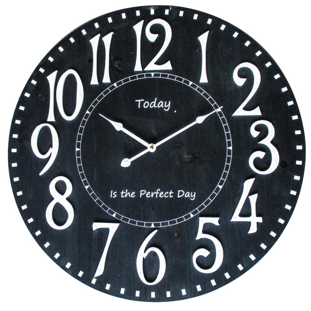 Perfect Day II Distressed Black Analog Wall Clock