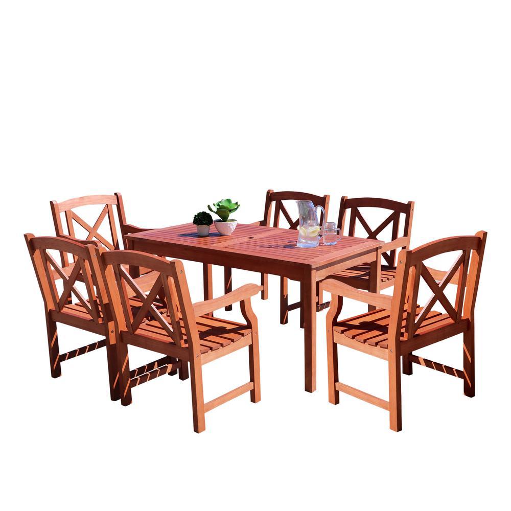 Vifah Malibu 7 Piece Wood Rectangle Outdoor Dining Set