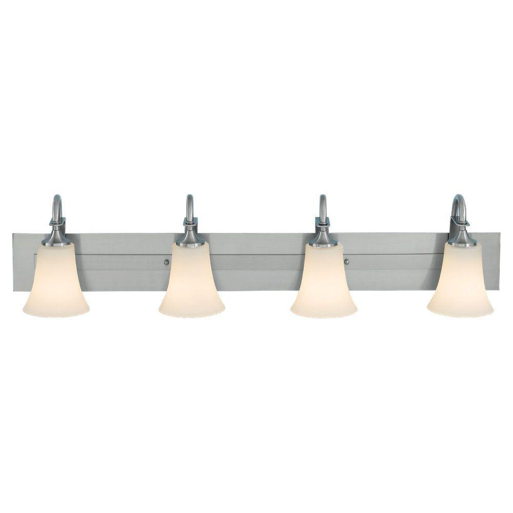 Sea Gull Lighting Barrington 37 in. W. 4-Light Brushed Steel Vanity Light with Opal Etched Glass Shades