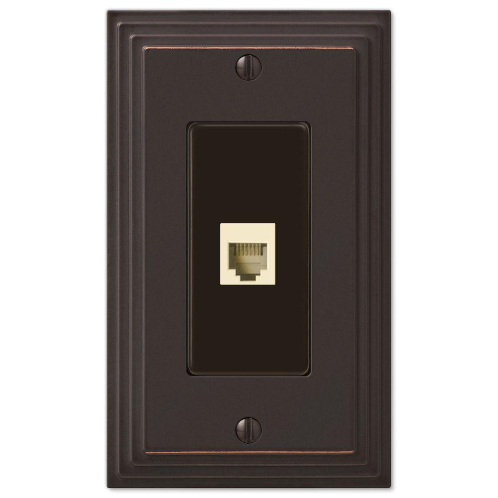 AMERELLE Tiered 1 Gang Phone Metal Wall Plate - Aged Bronze