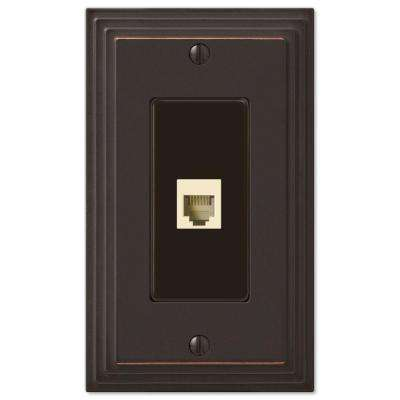 Tiered Cast 1 Phone Wall Plate, Aged Bronze