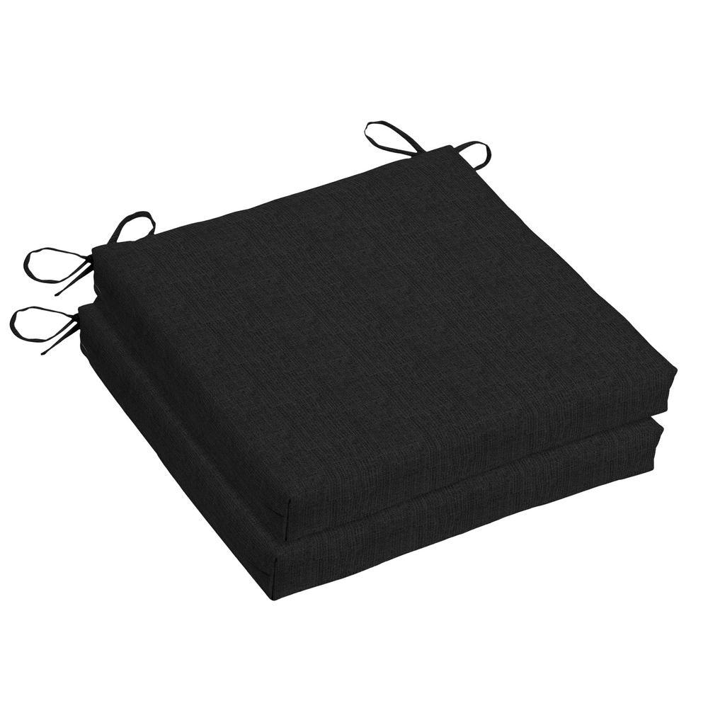Woodbury 18 x 18 Sunbrella Canvas Black Outdoor Dining Chair Cushion (2-Pack)
