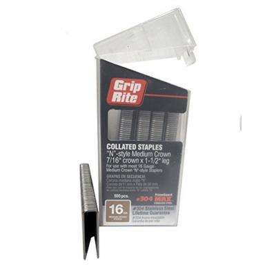 1-1/2 in. x 16-Gauge 304 Stainless Steel N-style Medium 7/16 in. Crown Staples (500 per Box)