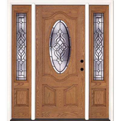 63.5 in.x81.625 in. Lakewood Patina 3/4 Oval Lite Stained Light Oak Left-Hand Fiberglass Prehung Front Door w/ Sidelites