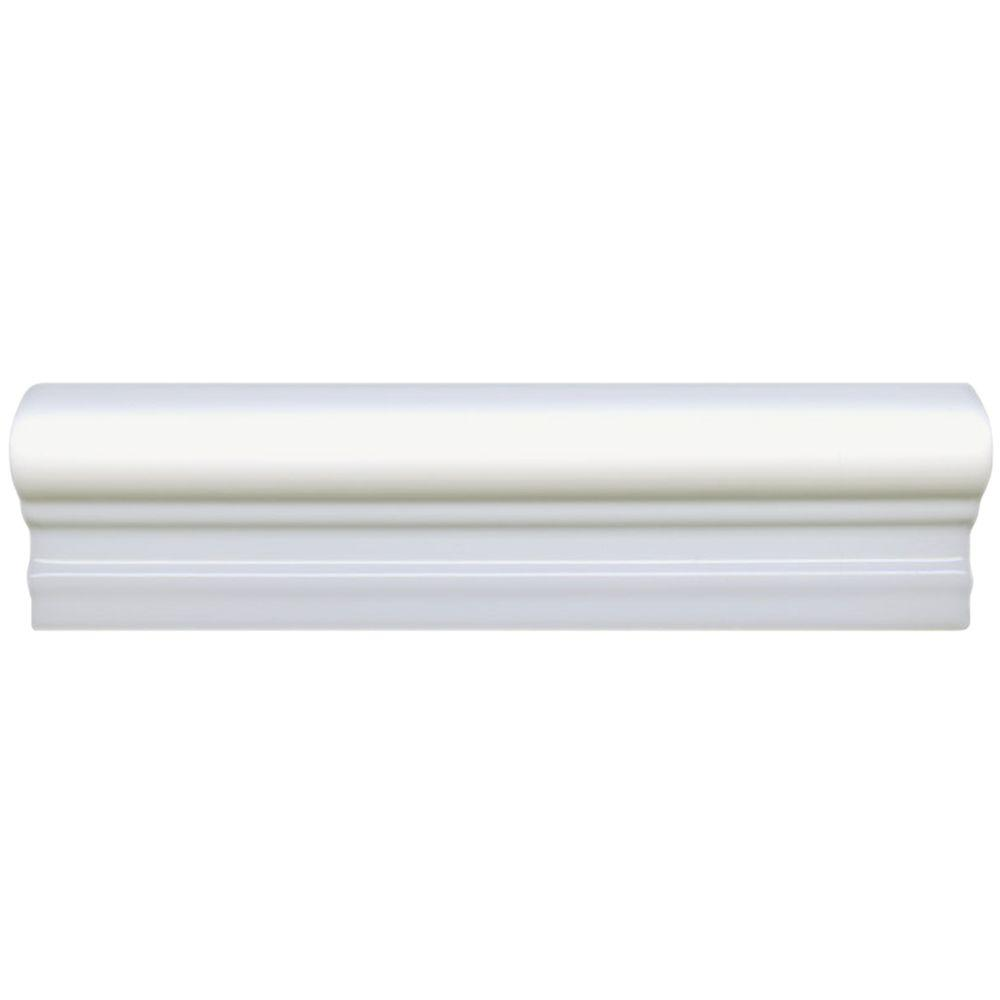 Merola Tile Plaqueta Blanco 2 in. x 8 in. Italiana Moldura Ceramic Wall Trim Tile