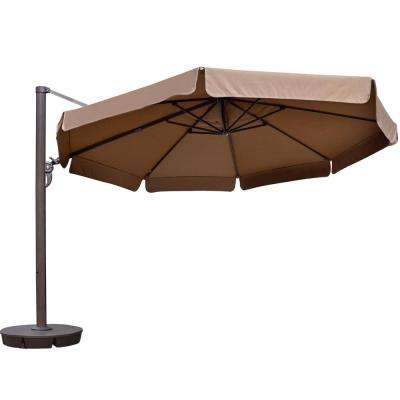 Victoria 13 ft. Octagonal Cantilever with Valance Patio Umbrella in Stone Sunbrella Acrylic