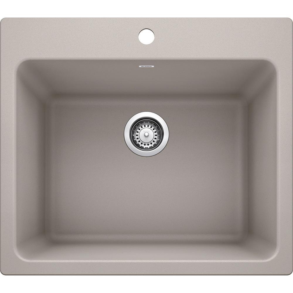 LIVEN SILGRANIT Granite Composite 25 in. x 22 in. Dual Mount Laundry Sink in Concrete Gray