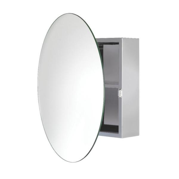 Croydex Severn 21 5 In W X 21 5 In H X 6 3 In D Circular Mirrored Surface Mount Medicine Cabinet In Stainless Steel Wc836005yw The Home Depot