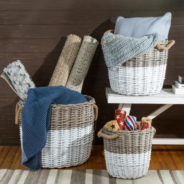 Glitzhome Natural White Round Wicker Baskets Set Of 3 1504203390 The Home Depot