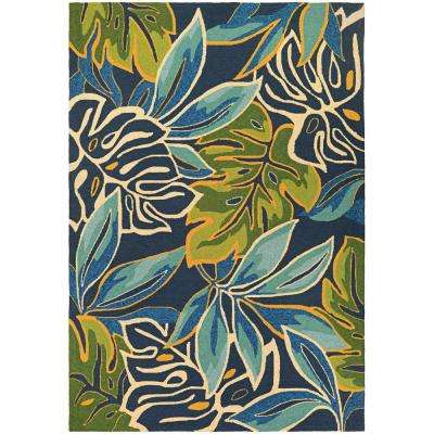 Covington Areca Palms Azure-Forest Green 8 ft. x 11 ft. Indoor/Outdoor Area Rug
