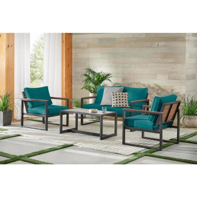 West Park Black Aluminum Outdoor Patio 4-Piece Conversation Set with Sunbrella Peacock Blue-Green Cushions