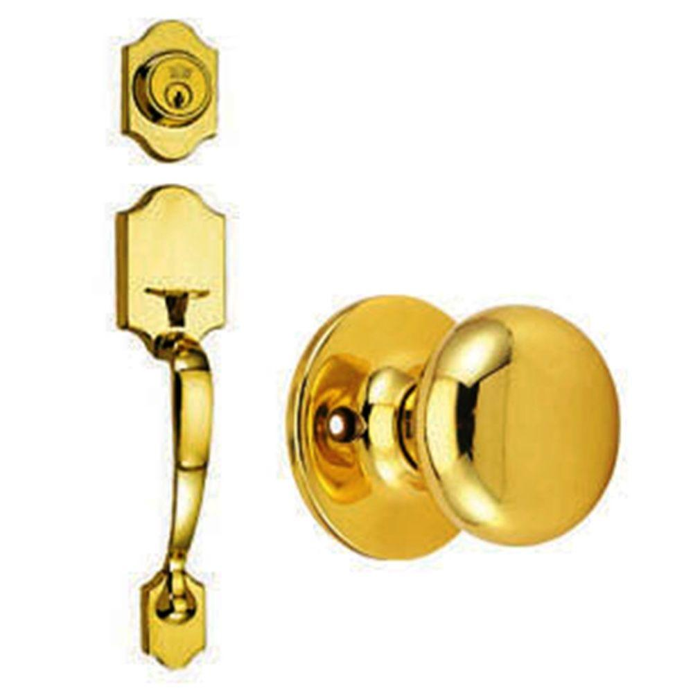 Design House Sussex Polished Brass Handleset with Cambridge Knob Interior and Single Cylinder Deadbolt