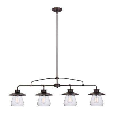 Nate 4-Light Oil-Rubbed Bronze Industrial Vintage Pendant