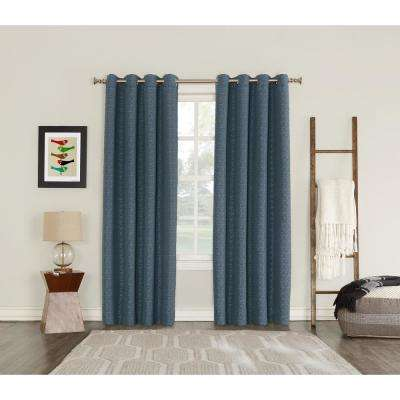Talin Indigo Lined Blackout Grommet Curtain - 52 in. W x 95 in. L