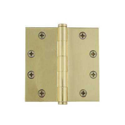 4.5 in. Button Tip Heavy-Duty Hinge with Square Corners in Polished Brass