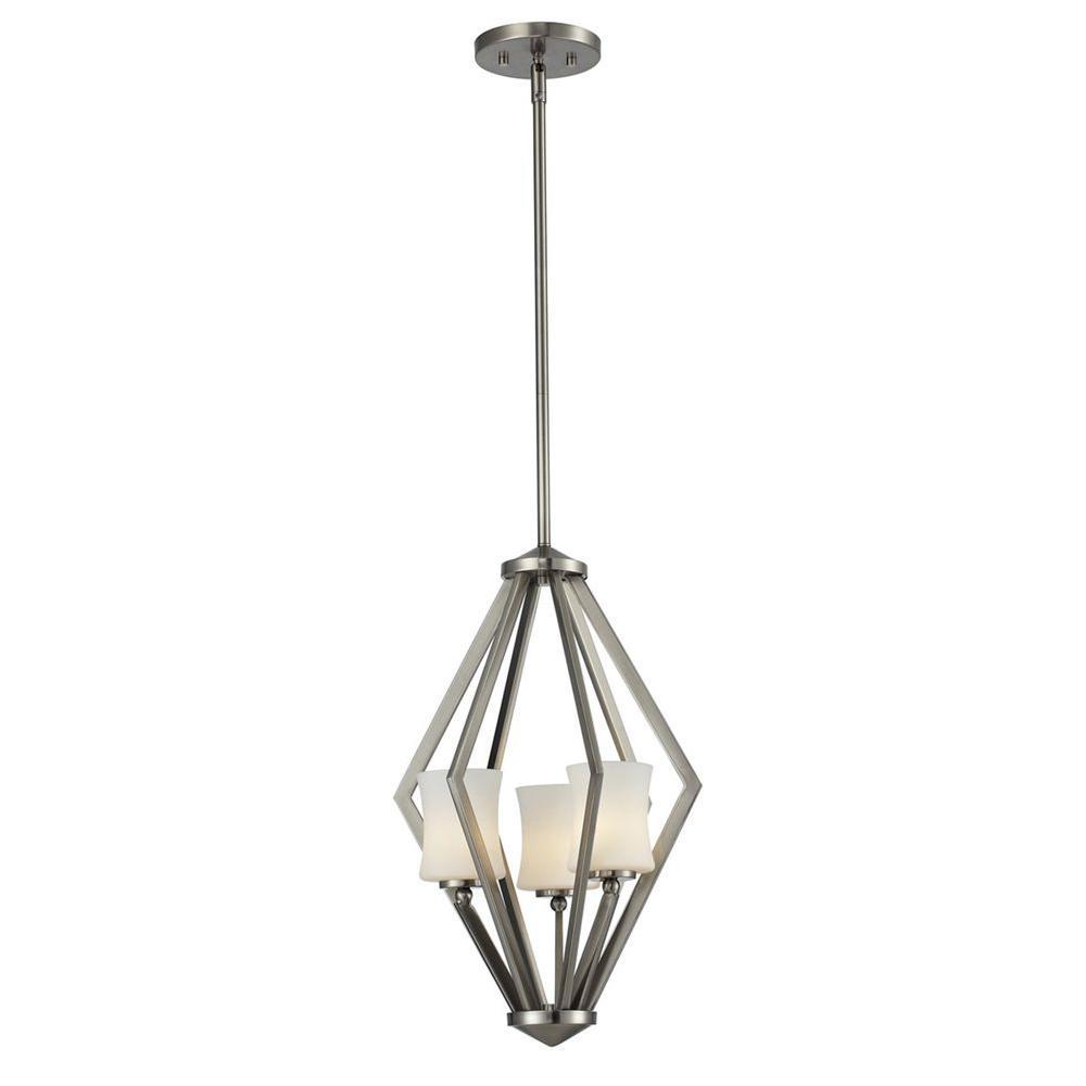 Mini halogen pendant lights lighting the home depot lawrence 3 light brushed nickel halogen ceiling pendant aloadofball Choice Image