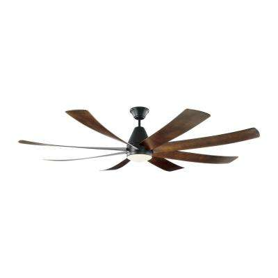 Kingston 72 in. Integrated LED Matte Black Ceiling Fan with Dark Walnut Blades with Light Kit and Remote