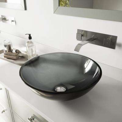 Glass Vessel Sink in Sheer Black with Wall-Mount Faucet Set in Brushed Nickel