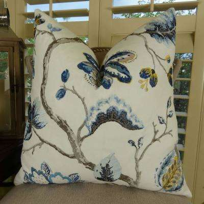 Bloom City 20 in. x 36 in. King Navy, Brown and Cream Hypoallergenic Down Alternative Double Sided Throw Pillow