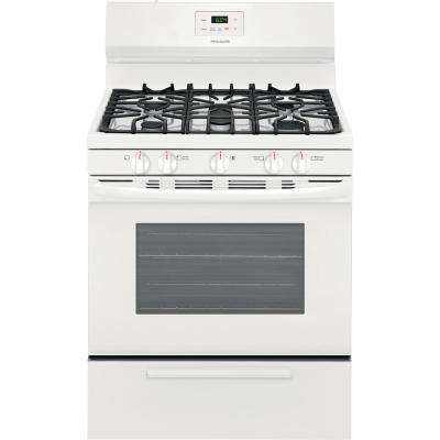 30 in. 4.2 cu. ft. Gas Range with 5 Burner Cooktop in White