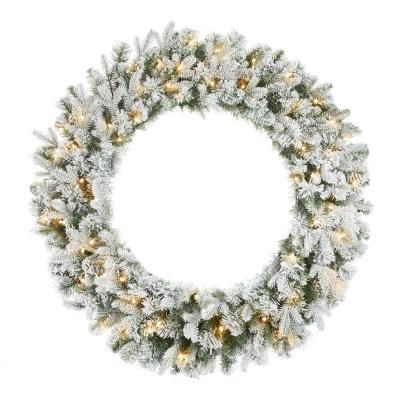 36 in. Starry Light Flocked Pre-Lit LED Pine Wreath with 70-Lights and Timer
