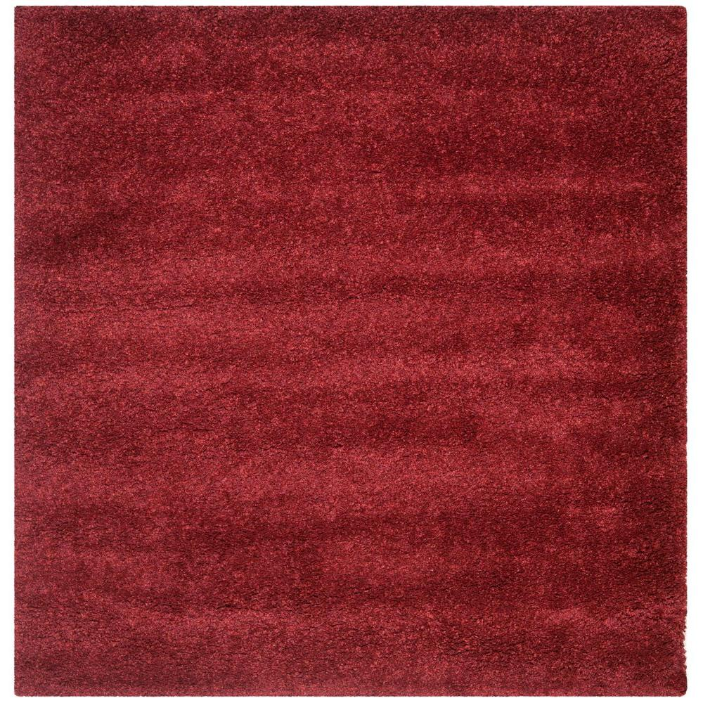 California Shag Maroon 7 ft. x 7 ft. Square Area Rug