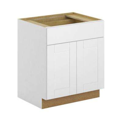 Princeton Shaker Assembled 27x34.5x24 in. Base Cabinet with Soft Close Drawer in Warm White