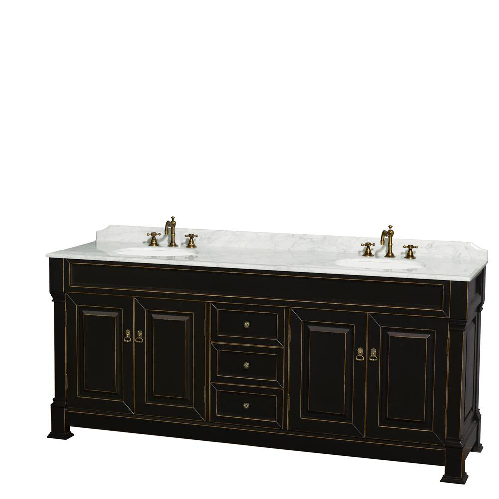 Andover 80 in. W x 23 in. D Bath Vanity in Black with Marble Vanity Top in White with White Basins
