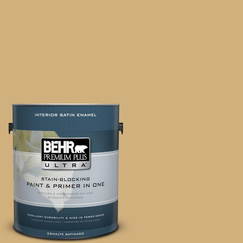 BEHR Premium Plus Ultra 1-Gal. #PPU6-15 Romanesque Gold Satin Enamel Interior Paint