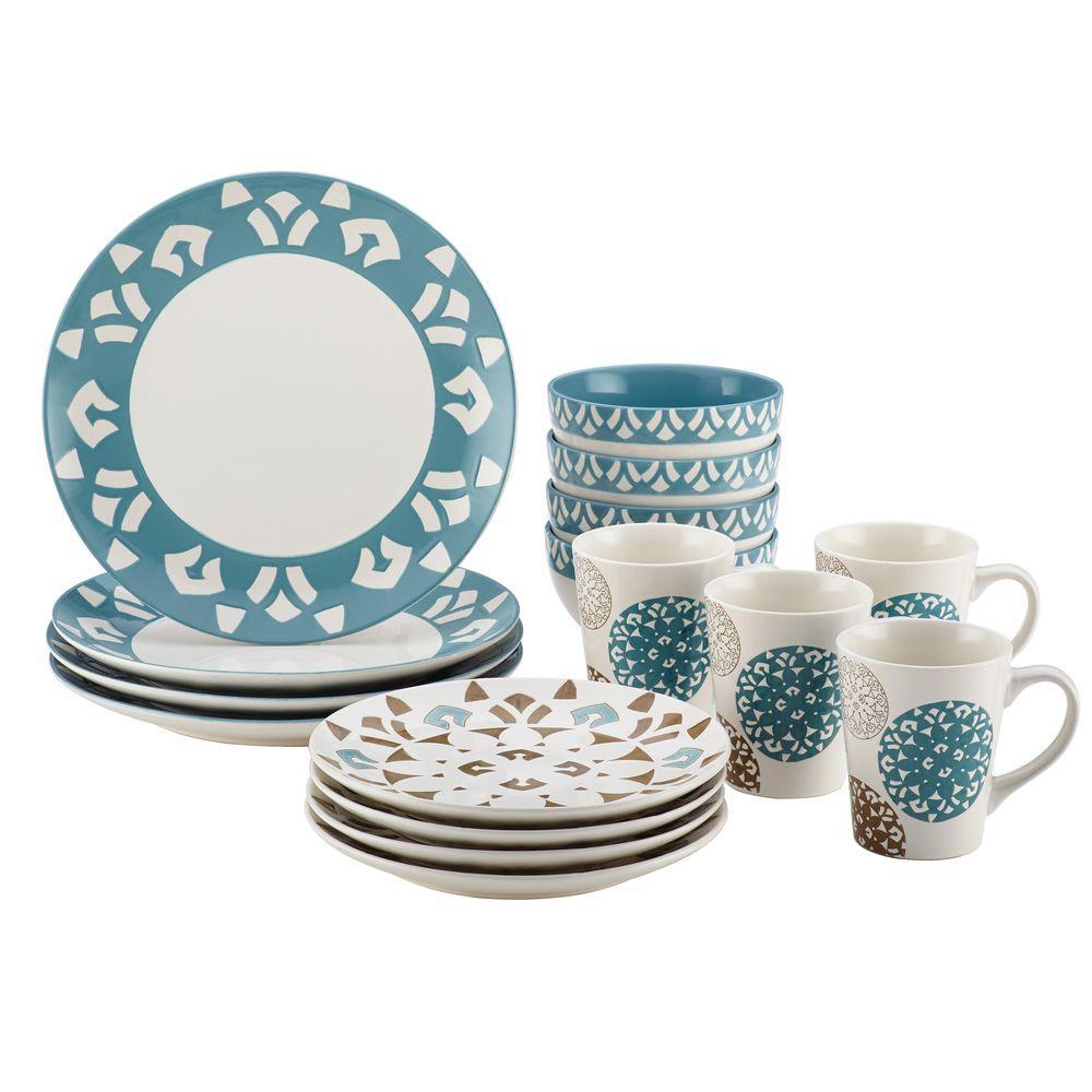 Rachael Ray Dinnerware Pendulum 16-Piece Stoneware Dinnerware Set with Print