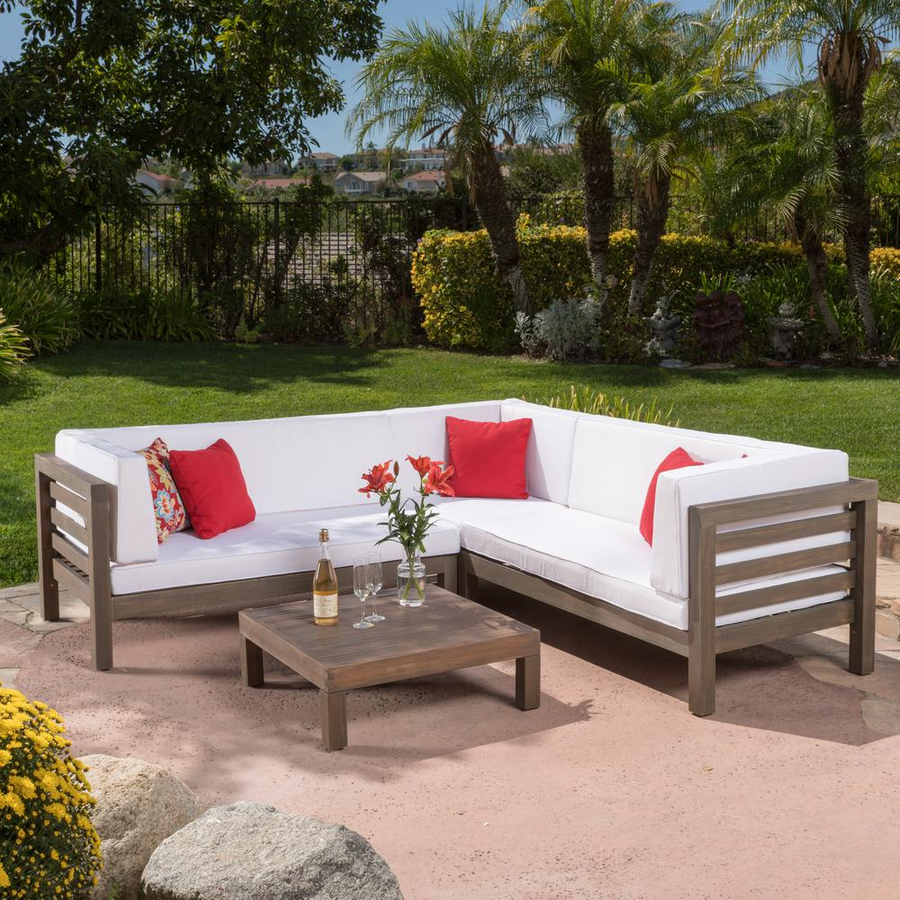 Noble House Oana Grey 4-Piece Wood Outdoor Sectional Set with White Cushions