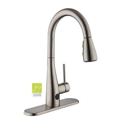 Nottely Touchless Single-Handle Pull-Down Sprayer Kitchen Faucet in Stainless Steel