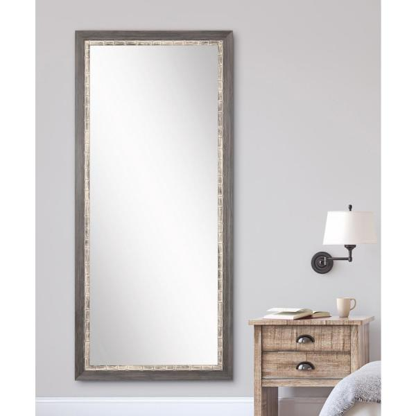 Medium Gray/Weathered Blue Wood Hooks Rustic Mirror (32 in. H X 71 in. W)