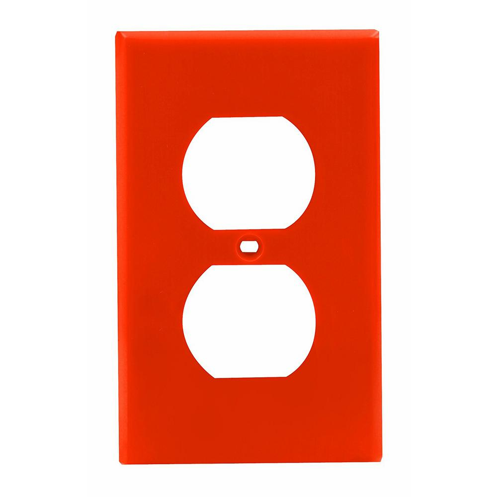 1-Gang 1 Duplex Receptacle, Standard Size Nylon Wall Plate - Orange