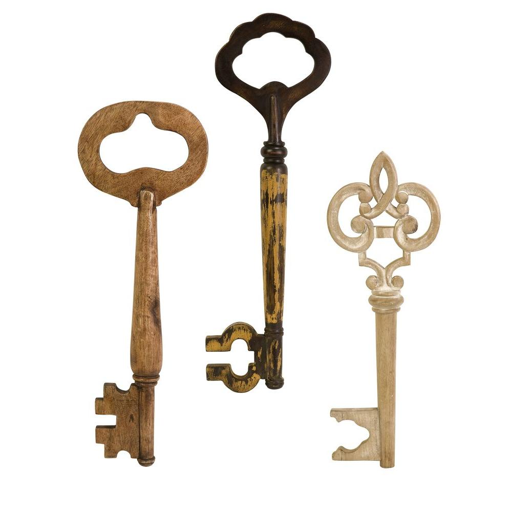Imax Walter Wooden Wall Keys Set Of 3