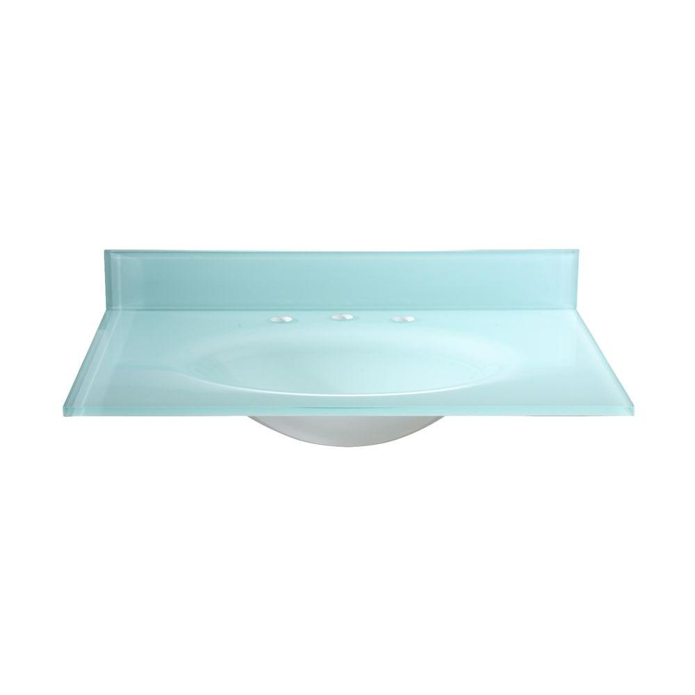 Hembry Creek 49 in W. Tempered Glass Vanity Top in White with White Basin