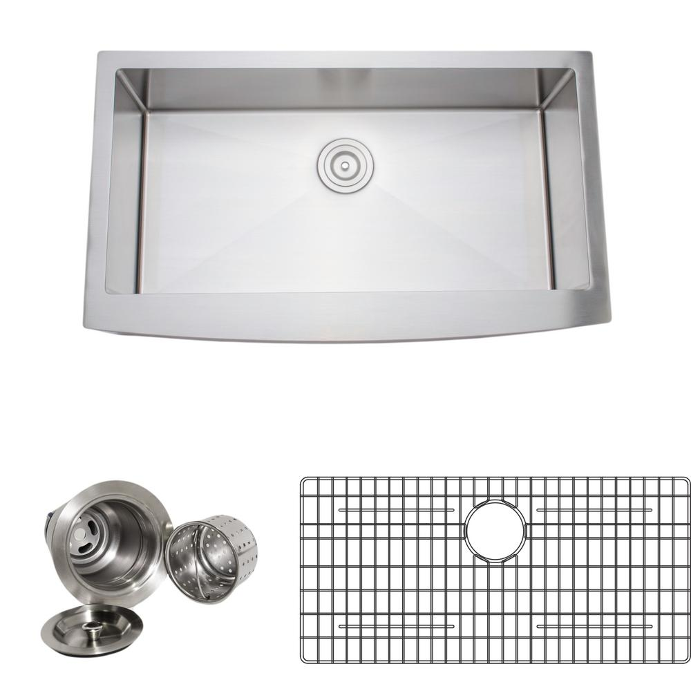 Wells New Chef's Collection Handcrafted Apron-Front Stainless Steel 36 in. Single Bowl Kitchen Sink Package