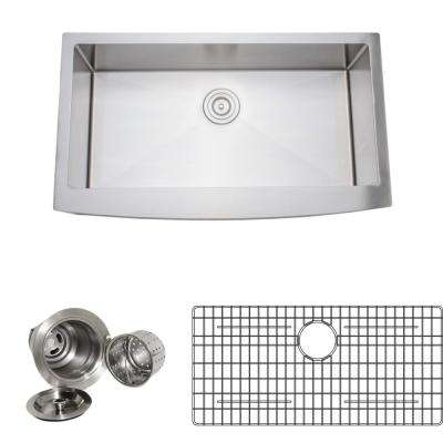 New Chef's Collection Handcrafted Apron-Front Stainless Steel 36 in. Single Bowl Kitchen Sink Package