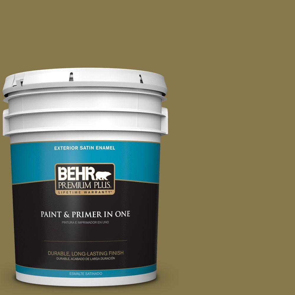 5-gal. #M330-7 Green Tea Leaf Satin Enamel Exterior Paint