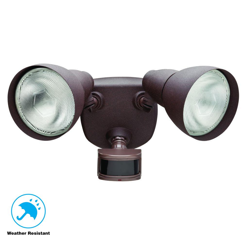 Home Depot Motion Lights: Defiant 270° Rust Motion Outdoor Security Light-DF-5718-RS