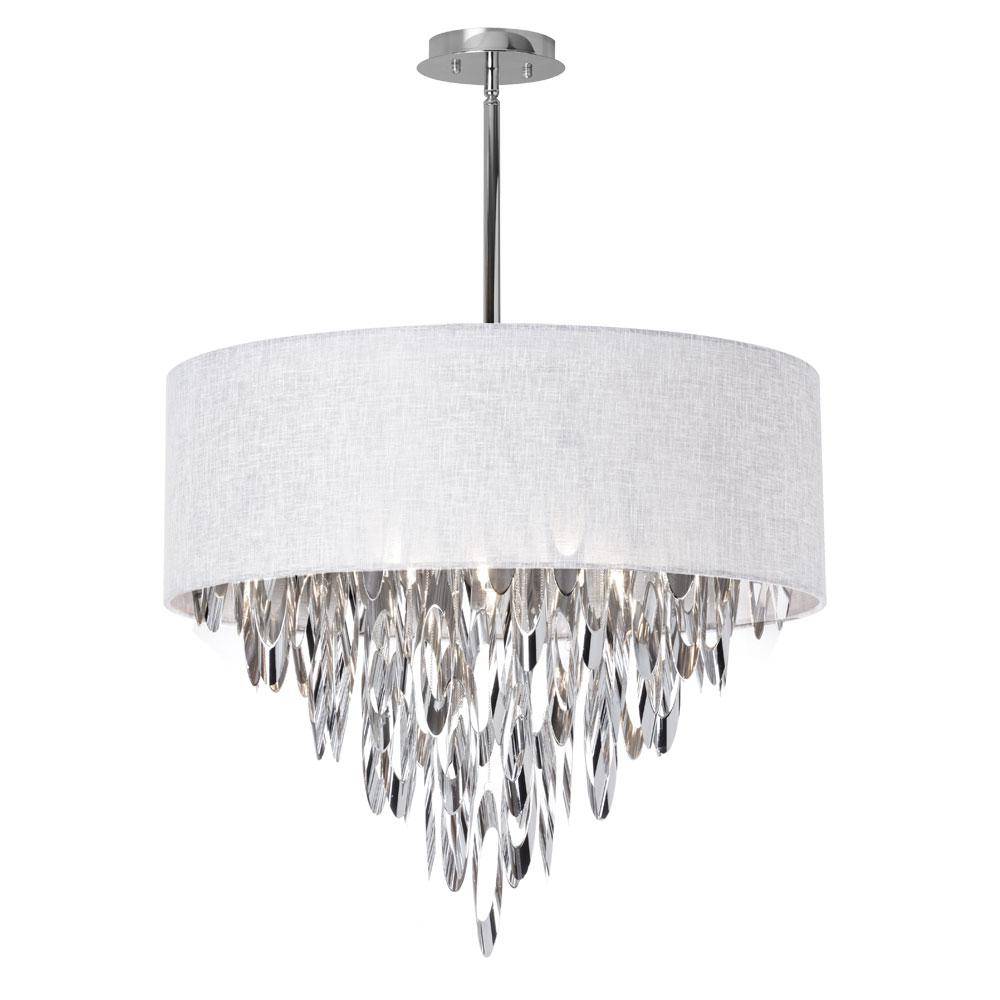 8-Light Polished Chrome Chandelier with White Milano Shade