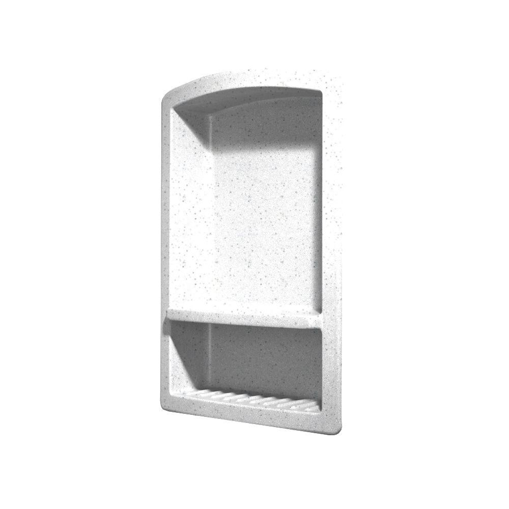 Swan Recessed Wall-Mount Solid Surface Soap Dish and Accessory Shelf in Arctic Granite