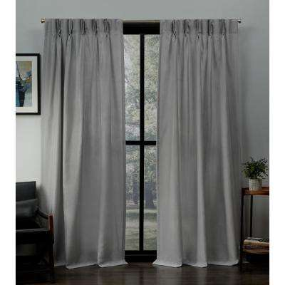 Loha 27 in. W x 84 in. L Linen Blend Pinch Pleat Top Curtain Panel in Dove Gray (2 Panels)