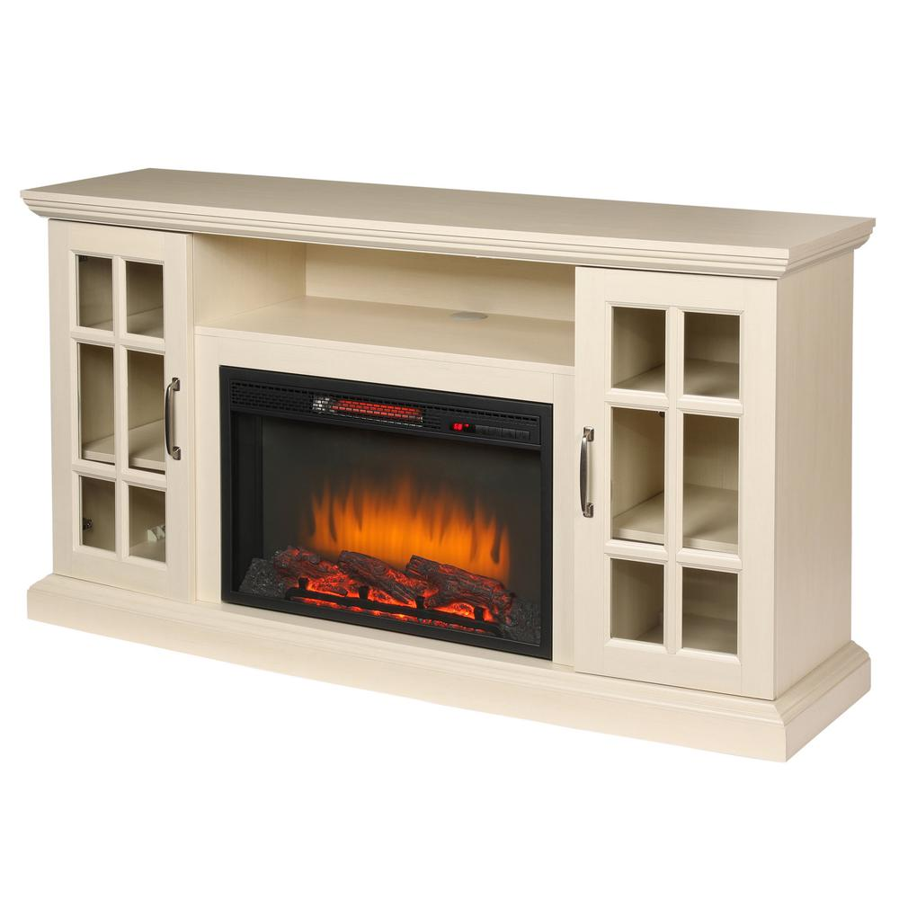 6f08a5cc146 Home Decorators Collection Edenfield 59 in. Freestanding Infrared Electric  Fireplace TV Stand in Aged White
