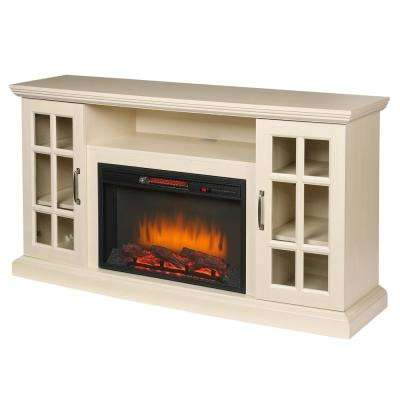Edenfield 59 in. Freestanding Infrared Electric Fireplace TV Stand in Aged White