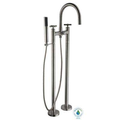 Danay 2-Pipe 2-Handle Freestanding Floor Mount Roman Tub Faucet with Handheld Handshower in Brushed Nickel