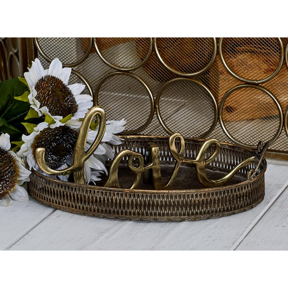Tarnished Brass Decorative Trays with Handles (Set of 3)
