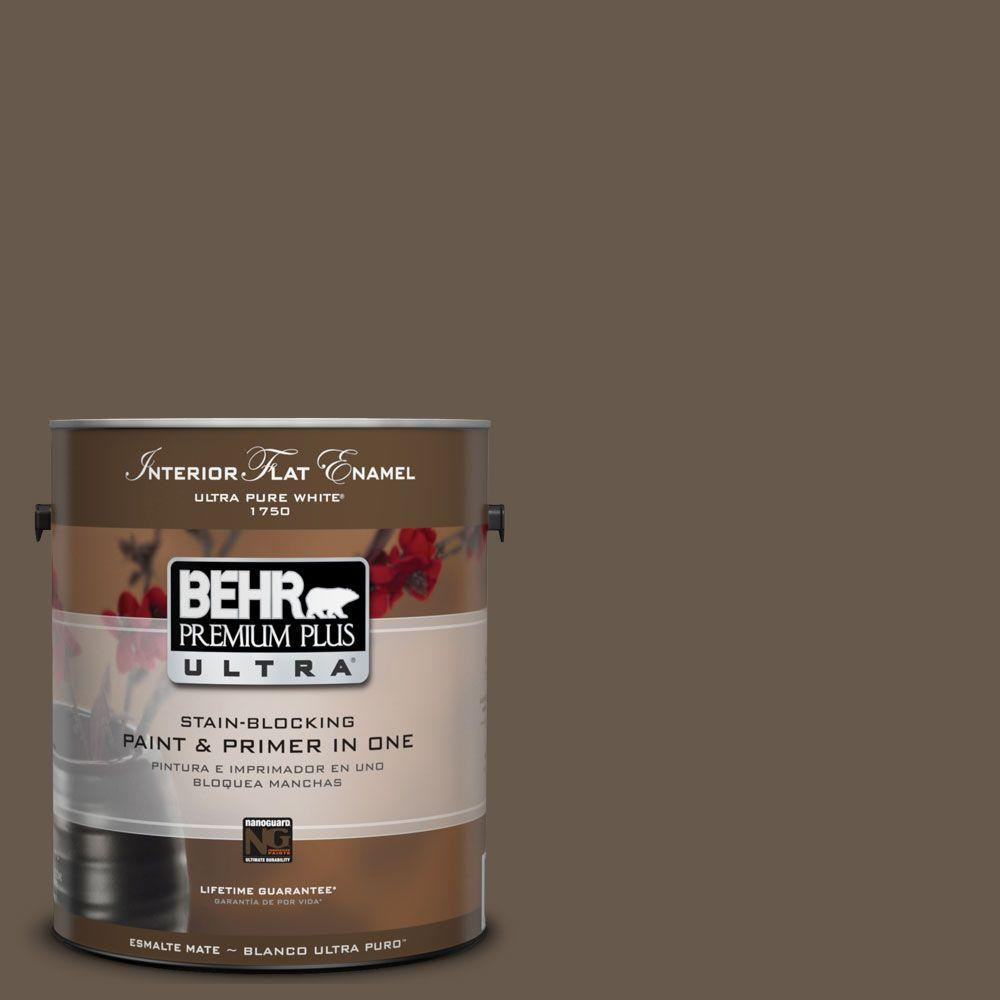 BEHR Premium Plus Ultra 1-gal. #UL170-23 Aging Barrel Interior Flat Enamel Paint