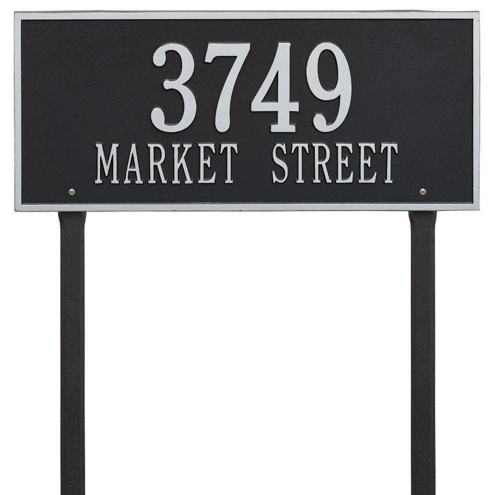 Hartford Rectangular Black/Silver Estate Lawn 2-Line Address Plaque
